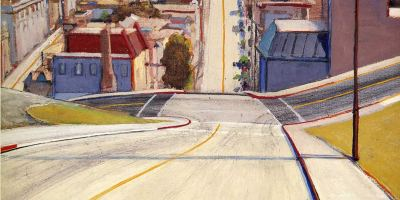 wayne thiebaud cakes, san francisco road, wayne thiebaud art, wayne thiebaud, san francisco road painting, oil o canvas