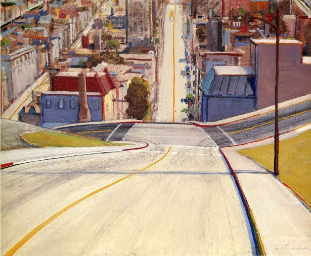 san francisco art museum, wayne thiebaud cakes, san francisco road, wayne thiebaud art, wayne thiebaud, san francisco road painting, oil o canvas
