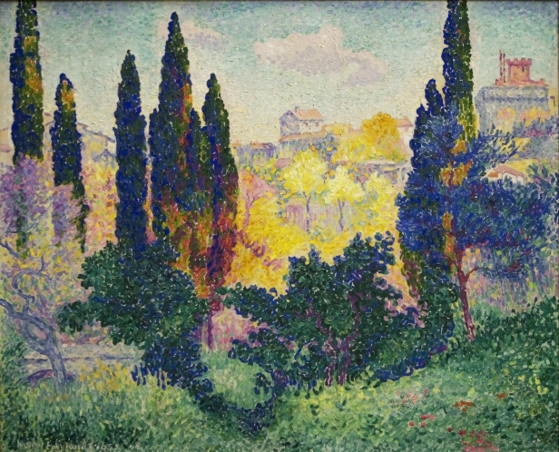 impressionist art, fine art, nycc art scene, new york art gallery, Les cyprès à Cagnes, 1908, oil on canvas