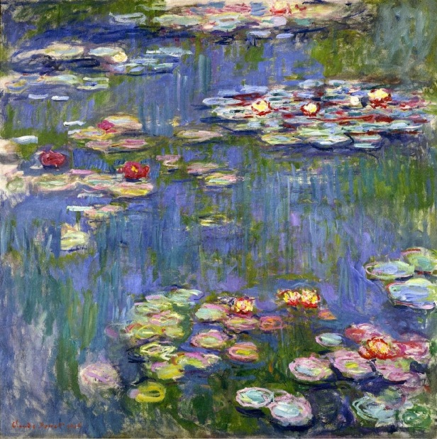 monet, water lillies, claude oscar monet, london national art gallery, monet paintings, monet umbrella, impressionism, painting