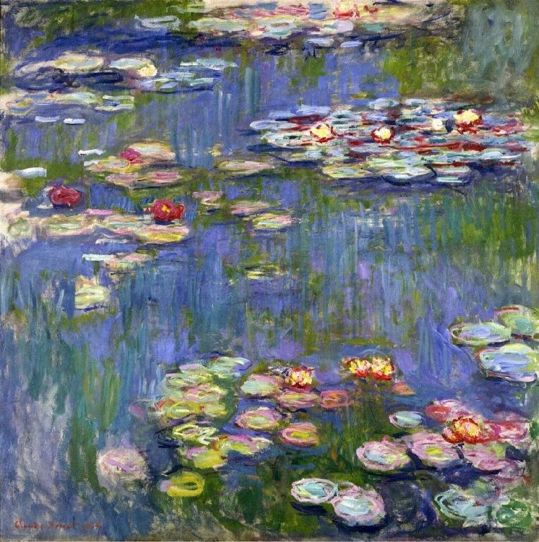 monet, water lillies, claude oscar monet, london national art gallery, monet paintings, monet umbrella, impressionism, painting