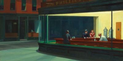 Edward Hopper,Hopper,Nighthawks,1942,smarthistory,art history,Google Art Project,OER