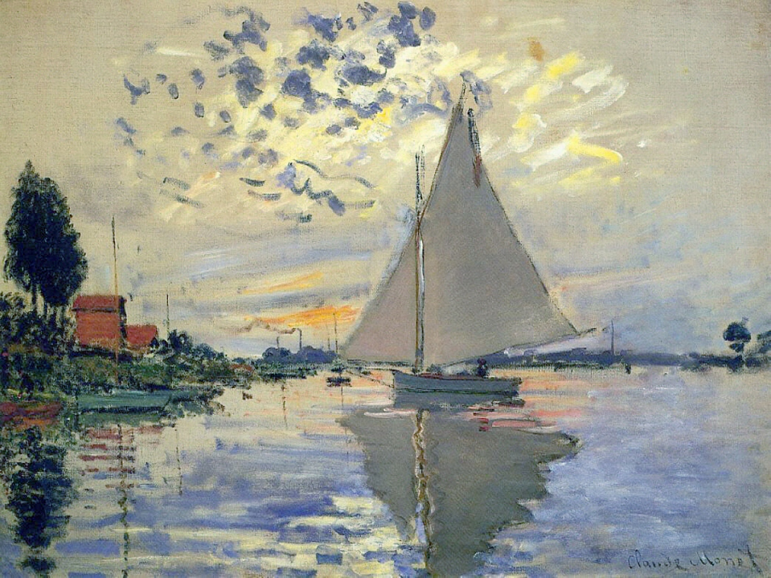 monet, sailboat, Sailboat At Le Petit Gennevilliers